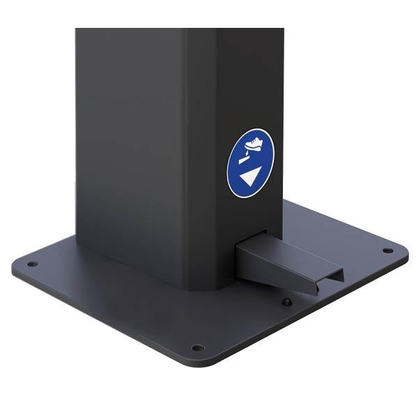 Distributeur de gel hydroalcoolique à pédale mécanique – Acier Noir (capacité 5 litres)