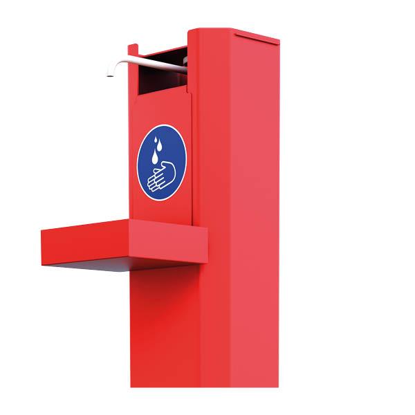 Distributeur de gel hydroalcoolique avec thermomètre integré – acier rouge – 1 litre