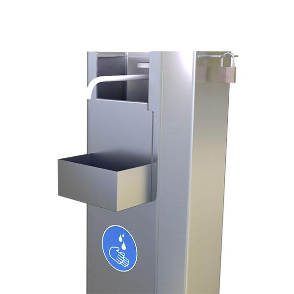 Distributeur de gel hydroalcoolique en inox 2L - 100% mécanique - avec pédale