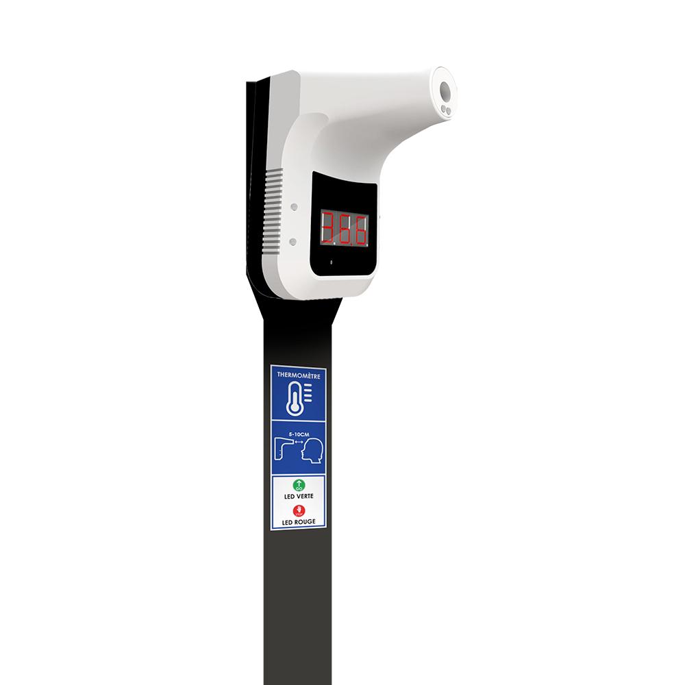 Distributeur de gel hydroalcoolique avec thermometre integré- acier noir – 2 litre