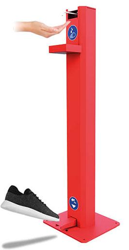 distributeur gel hydroalcoolique 1L sans contact Acier Rouge